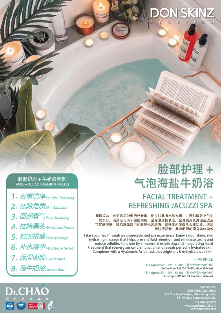 FACIAL TREATMENT + REFRESHING JACUZZI SPA